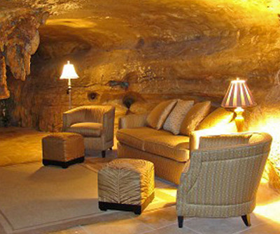 Living room furniture arranged in a cave