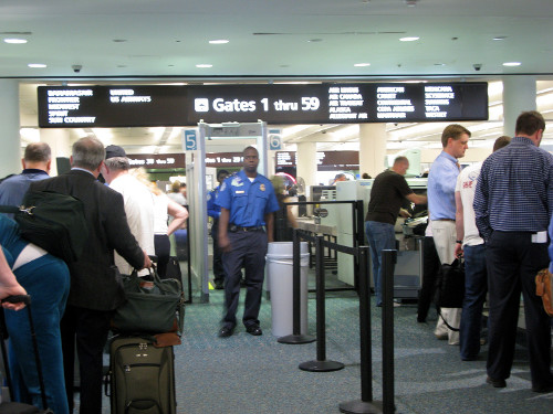 TSA lines and security check at airport