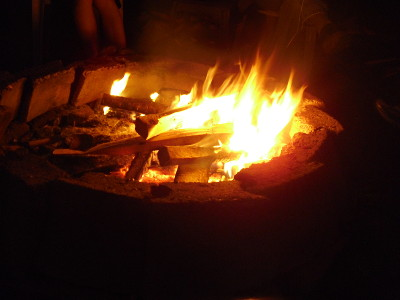 Campfire in stone fire ring