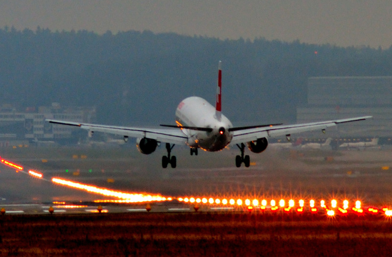 Airliner landing on runway